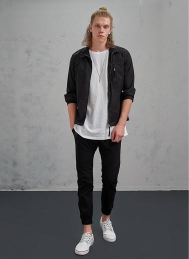 Pi π Fermuar Detaylı Pantolon Siyah